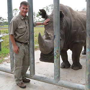 "Dowling visits Buck, Lion Country Safari's much-loved, 45-year-old bull rhinoceros. ""He doesn't breed anymore, but has sired more offspring than any other white rhino in North America."