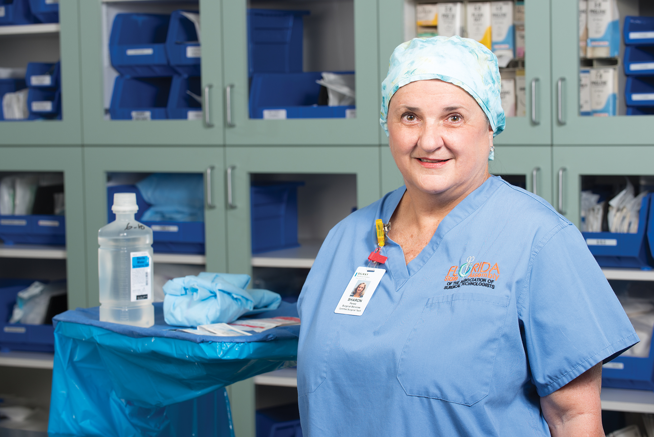 Sharon Peretz in her new career as a surgical technologist.