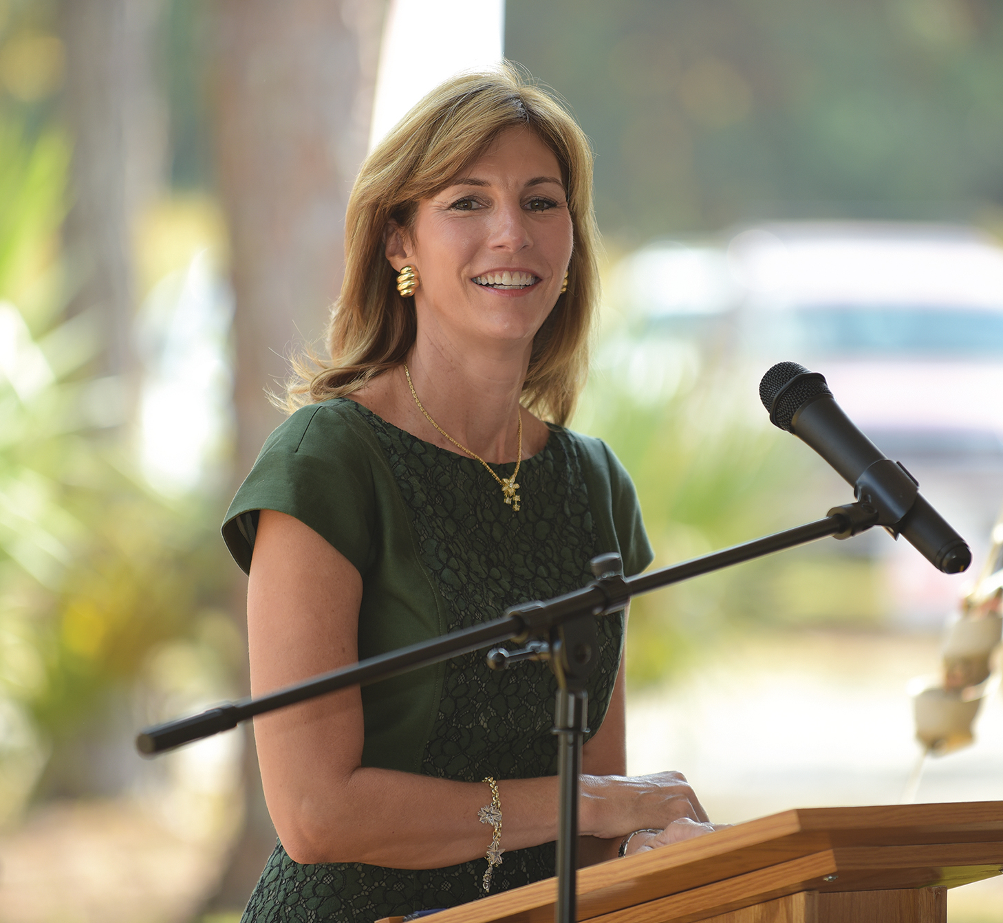 PBSC trustee Wendy Link speaks to more than 100 people at the groundbreaking ceremony for the new campus Nov. 7.