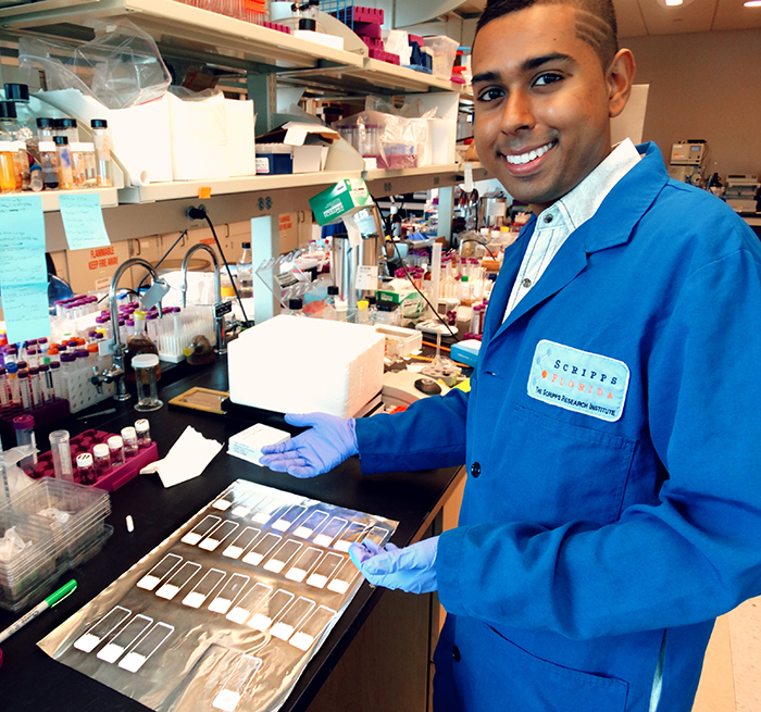 Tevin Ali at his internship in the laboratory of Dr. Matthew Disney on the Scripps Florida campus
