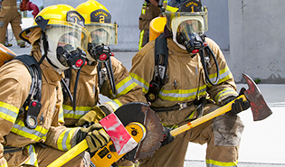 Firefighter training exercise