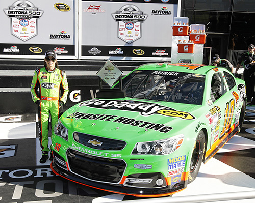 17 February 2013: Danica Patrick wins the pole for the Daytona 500 at Daytona International Speedway in Daytona Beach Fl. (HHP/Harold Hinson)
