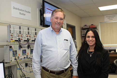 Business partner Anthony Hartzheim, program manager at Agilis Engineering and Roxana Melendez, professor for the PBSC Engineering Technology program