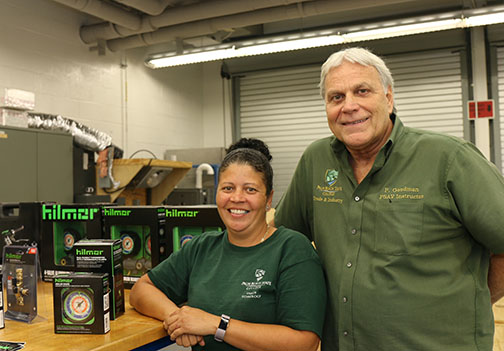 Alexis Rodriguez and HVAC/R instructor Pete Goodman