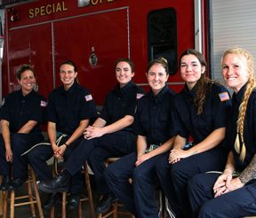 Six female students in one Fire Academy class