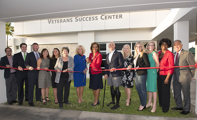 Ribbon cutting at grand opening of Veterans Success Center