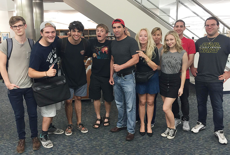 Director Fishman and cast at PBSC library on Gardens campus
