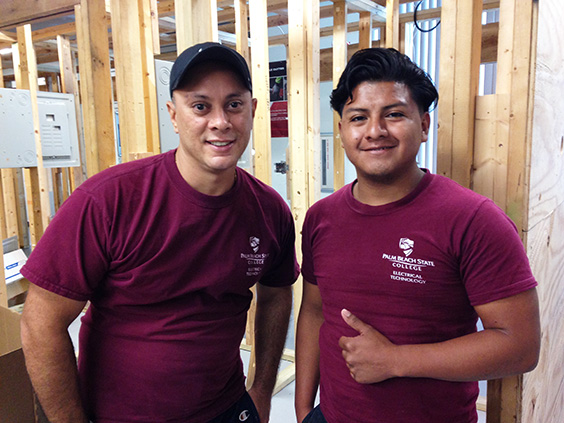 Two PBSC electrician students